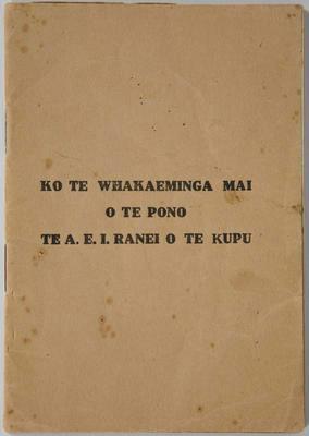 Prayer Booklet – Ko Te Whakaeminga Mai O Te Pono Te A.E.I Ranei O Te Kupu