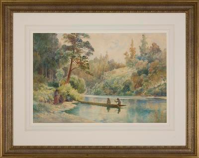 Waikato River (New Zealand River Scene – Three Women On The River); Frank Wright; 1908; 2003/1/1
