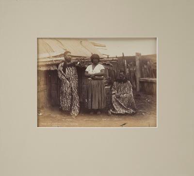 Photograph of three Maori people - Te Hurinui,  Ngaparu, and Kahu Tapune (wife of Ngaparu)