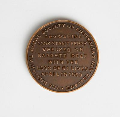 Medal – Commemorating The Wahine Ferry  Disaster