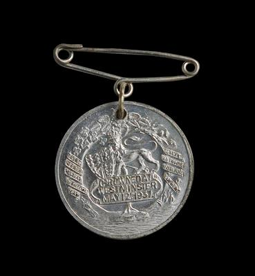 Medal – Commemorating King George VI & Queen Elizabeth Coronation 1937