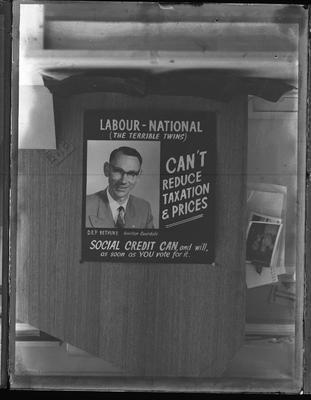 Glass plate negative – election poster for D.R.P. (Don) Bethune, Social Credit Party