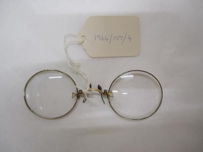 Pince Nez - Silver Tone Metal  Round Rim Lenses With Gold Tone Metal Nose Bridge