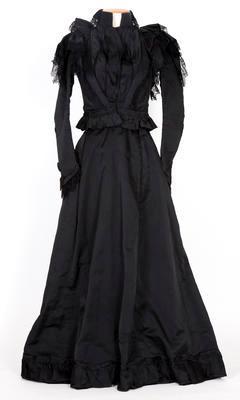 Black satin bodice and full length skirt