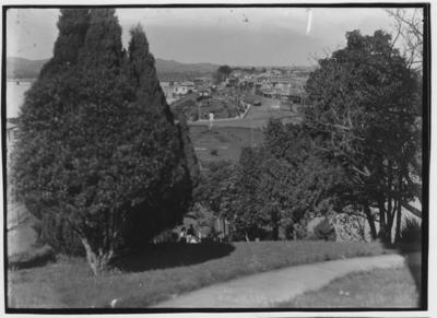 Glass plate negative – Strand, Tauranga from Redoubt