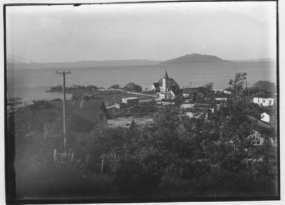 Glass plate negative – Ohinemutu and Mokoia Islands, Rotorua