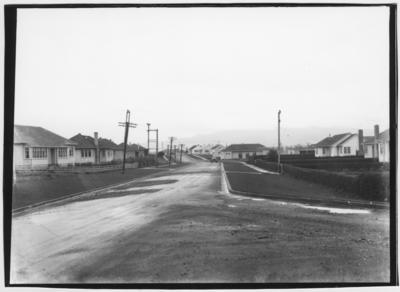 Glass plate negative – Main Street, Karapiro Hydro Station.