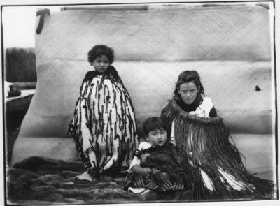 Glass plate negative – Alice, Huia & Patiti, Taupo