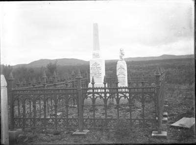 Glass plate negative – memorials to Robert Adams and Walter Warbrick, Taupo