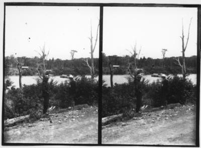 Glass plate negative – stereoview of river and ferry crossing