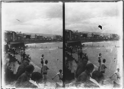Glass plate negative – stereoview of swimming beach