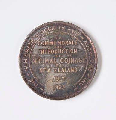 Medal – Introduction of Decimal Coinage to NZ