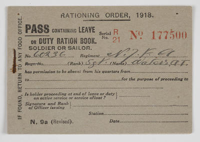 Pass - Containing leave or duty ration book