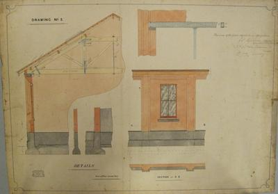 [Thames Valley Co-op. Dairying Coy. Ltd. Paeroa Butter Factory, 1909] Drawing No.2. Details. Section at C.D.