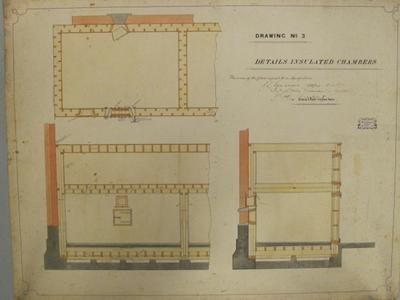 [Thames Valley Co-op. Dairying Coy. Ltd. Paeroa Butter Factory, 1909] Drawing No. 3.  Details Insulated Chamber.