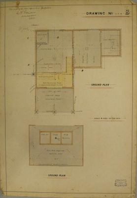 [Thames Valley Co-op Dairying Coy. Ltd. Butter Factory, 1910]  Drawing No.4-1 B. Ground Plan.
