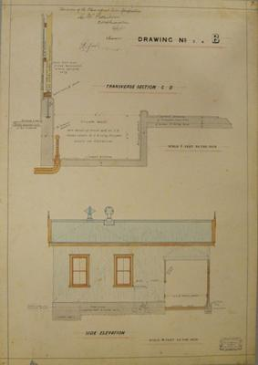 [Thames Valley Co-op Dairying Coy Ltd. Butter Factory, 1910] Drawing No.3. 4. B. Transverse Section C-D. Side Elevation.