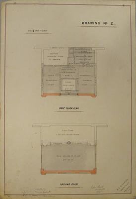 [Paeroa Butter Factory Addition for Thames Valley Co-op Dairying Co. Ltd.]  Drawing No.2: First Floor Plan. Ground plan.