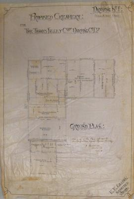 Proposed Creamery [at Wardville] for the Thames Valley Co-op.Dairying Co Ltd. Drawing No.1. Ground Plan:
