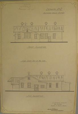 [Thames Valley Co-op. Dairying Co. Ltd.]  Ngataipua Cheese Factory.  Drawing No.2. Front elevation. Side elevation