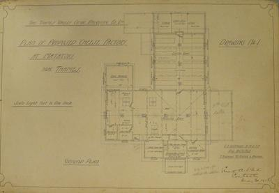 Thames Valley Co-op. Dairying Co Ltd. Plan of Proposed Cheese Factory at Matatoki near Thames. Drawing No.1. Ground Plan.