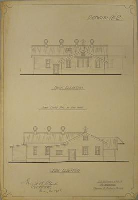 [Thames Valley Co-op. Dairying Co. Ltd. Matatoki Cheese Factory] Drawing No.2. Front Elevation. Side Elevation