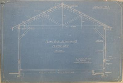 [Thames Valley Co-op. Dairying Co. Ltd. Matatoki Cheese Factory] Drawing No.3. Detail Cross Section on A.B. Making Room