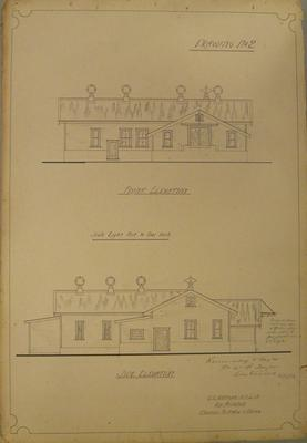 [Thames Valley Co-op. Dairying Co. Ltd. Huirau Road Cheese Factory] Drawing No.2. Front Elevation. Side elevation.