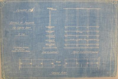 [New Zealand Co-op Dairying Co. Ltd. Cheese Factory] Drawing No.5. Detail of Shelving for Curing Room. End Elevation, Front Elevation. Ground Plan [Blueprint]