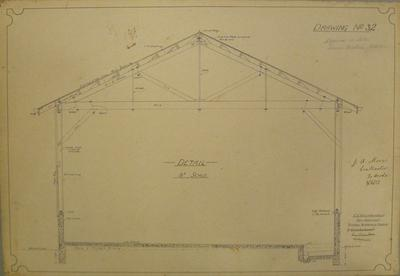 [Thames Valley Co-op. Dairying Co. Ltd. Lower Waitoa Cheese Factory Addition] Drawing No.2 Detail [Cross section showing roof truss construction]