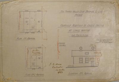 Thames Valley Co-op. Dairying Co. Ltd. Paeroa. Proposed Addition to Cheese Factory at Lower Waitoa. Plan No.1 Proposal. Plan No.2 Proposal.  Elevation No.1 Proposal.