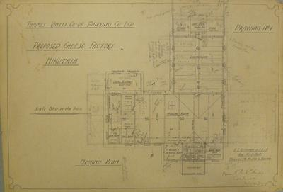 Thames Valley Co-op. Dairying Co. Ltd. Proposed Cheese Factory Hikutaia. Drawing No.1. Ground Plan