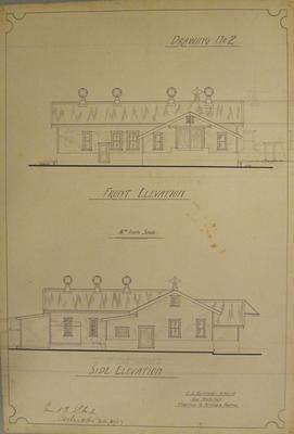 [Thames Valley Co-op. Dairying Co Ltd. Hikutaia Cheese Factory] Drawing No.2. Front Elevation, Side Elevation.