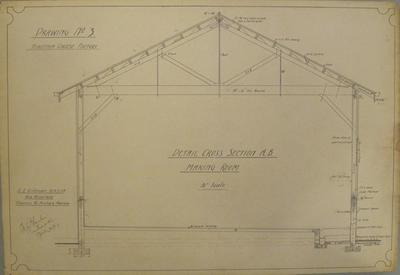 [Thames Valley Co-op. Dairying Co Ltd] Hikutaia Cheese Factory. Drawing No.3 Detail. Cross section A.B. Making Room.