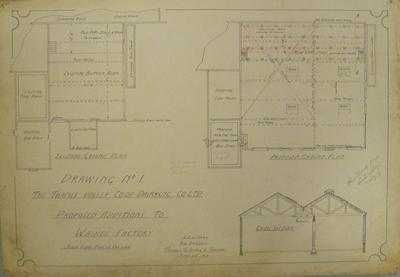 Thames Valley Co-op. Dairying Co. Ltd. Proposed Additions to Waihou Factory. Drawing No.1. Existing Ground Plan. Proposed Ground Plan. Cross Section