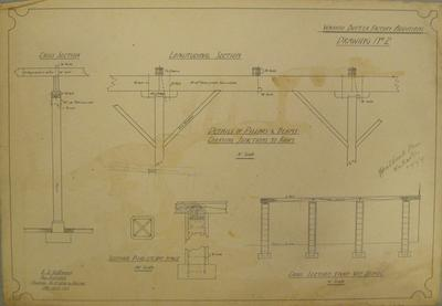 [Thames Valley Co-op. Dairying Co. Ltd] Waihou Butter Factory Additions.  Drawing No 2.Details of Pillars and Beams Carrying Junctions to Roofs; Cross Section; Longitudinal Section.  Cross Section thro' Vat Stage; Sections Piers etc Vat Stage.