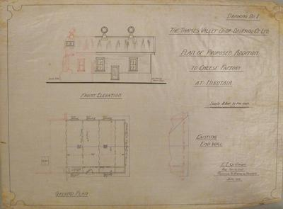 Thames Valley Co-op. Dairying Co. Ltd. Plan of Proposed Addition to Cheese Factory at Hikutaia. Drawing No.1: Front Elevation, Ground Plan, Existing End Wall.