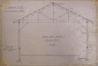 [Thames Valley Co-op. Dairying Co. Ltd] Hikutaia Cheese Factory Additions. Drawing No.2: Detail Cross Section Making Room.