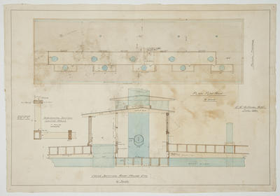 [Thames Valley Co-op Dairying Co Ltd. Waitoa Dried Milk Factory] Cross Section Roof House. Plan Flat Roof. Horizontal Louvre Walls
