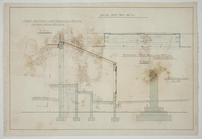 [Thames Valley Co-op Dairying Co. Ltd] Waitoa Dried Milk Factory. Cross section thro' Receiving Portion Halfway Along Building & Amended Plan Receiving Portion Ground Floor.