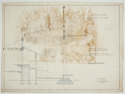 [Thames Valley Co-op. Dairying Co., Ltd] Waitoa Dried Milk Factory. Drawing No 7. Cross Section at Receiving Stage.