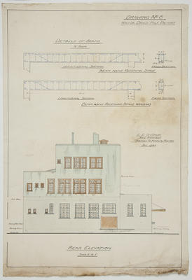 [Thames Valley Co-op Dairying Co. Ltd] Waitoa Dried Milk Factory. Drawing No.8. Details of Beams,  Rear Elevation