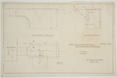 [Thames Valley Co-op Dairying Co. Ltd.] Waitoa Dried Milk Factory. Coal Filler pit Details.  Sheet No.1. Plan, Cross Section, Longitudinal Section