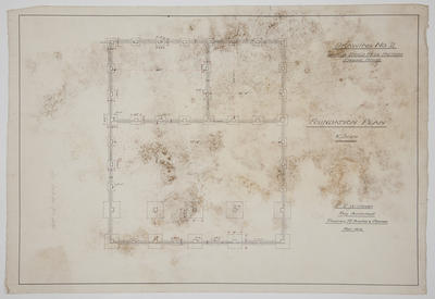 [Thames Valley Co-op Dairying Co. Ltd.] Waitoa Dried Milk Dairy Factory Engine House. Drawing No. 2. Foundation Plan.