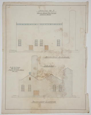 [Thames Valley Co-op Dairying Co. Ltd.] Waitoa Dried Milk Factory Engine House. Drawing No.5. South-East Elevation. South-West Elevation