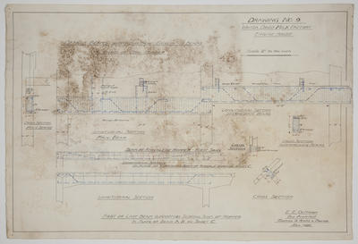 [Thames Valley Co-op Dairying Co. Ltd.] Waitoa Dried Milk Dairy Factory  Engine House Drawing No. 9. Details Beams Supporting Front Ends of Coal Hopper