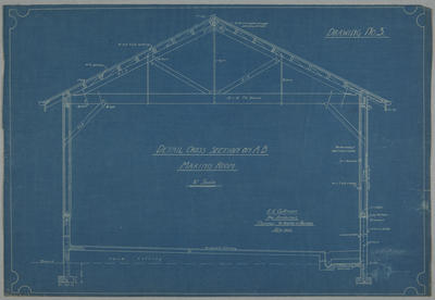 [ NZ Co-op Dairy Co Ltd Okoroire Cheese Factory] Drawing No.3 Detail Cross Section on A-B Making Room.