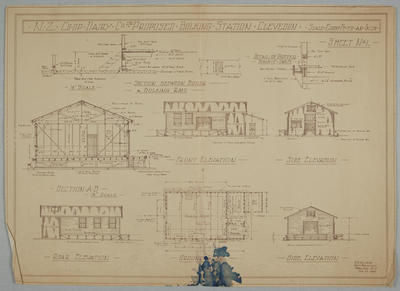 NZ Co-op Dairy Co Ltd. Proposed Bulking Station, Clevedon. Sheet No.1. Ground Plan, Section, Elevations and Detail of Gutter.