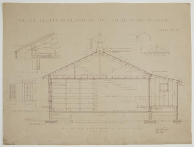The New Zealand Co-op. Dairying Coy Ltd. Proposed Cheese Factory at Ngatea. Sheet No. 7. Section Through Curing Room & Paraffin Rm. Detail at Eaves.
