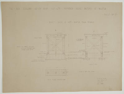 The New Zealand Co-op. Dairy Coy Ltd. Proposed Cheese Factory at Ngatea. Sheet No.17. Sweet Whey & Hot Water Tank Stands.